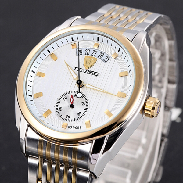 TEVISE Mechanical Watch Fashion Business Men Wrist Watch Date Display Vertical Stripes Dial Watch