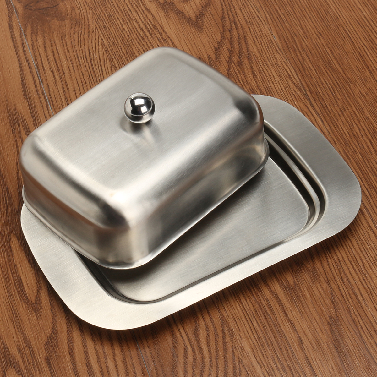 Stainless Steel Butter Cheese Dish Serving Tray Storage Container with Handle Lid
