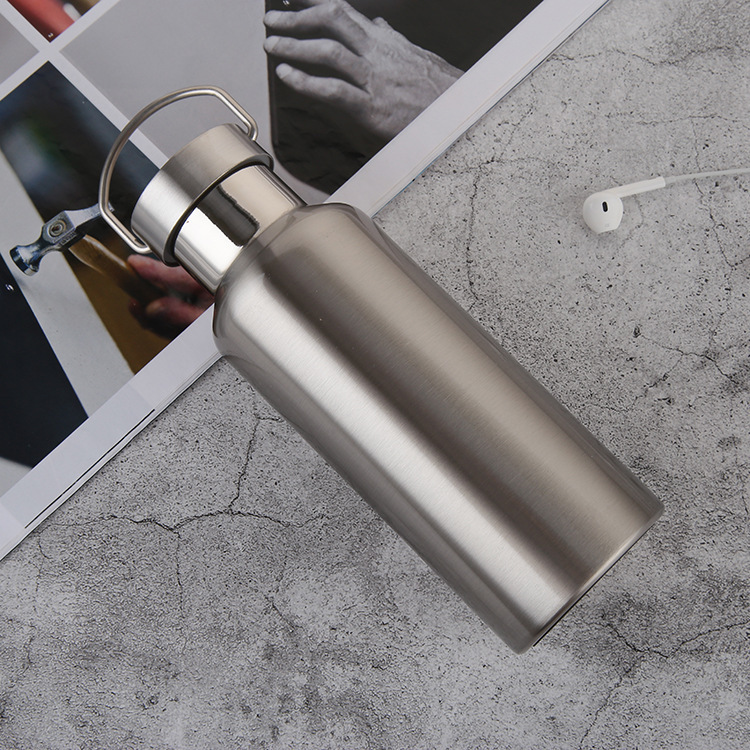 500ml 600ml 800ml Water Bottle 304 Stainless Steel Wide Mouth Vacuum Cup With Outdoor Carabiner