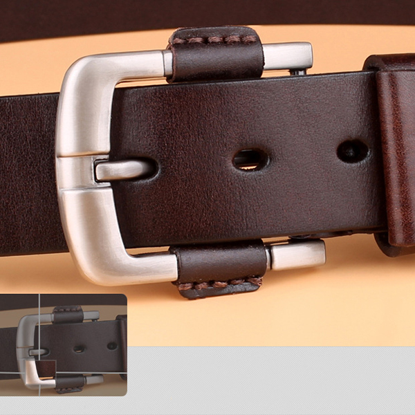 Mens Retro First Layer Cowhide Leather Belt Pin Buckle Jeans Waistbands