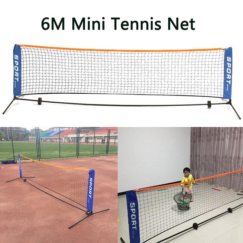 Sport Outdoor Tennis Net Portable Post Frame Kit Badminton Volleyball Training Net 6M W/ Bag