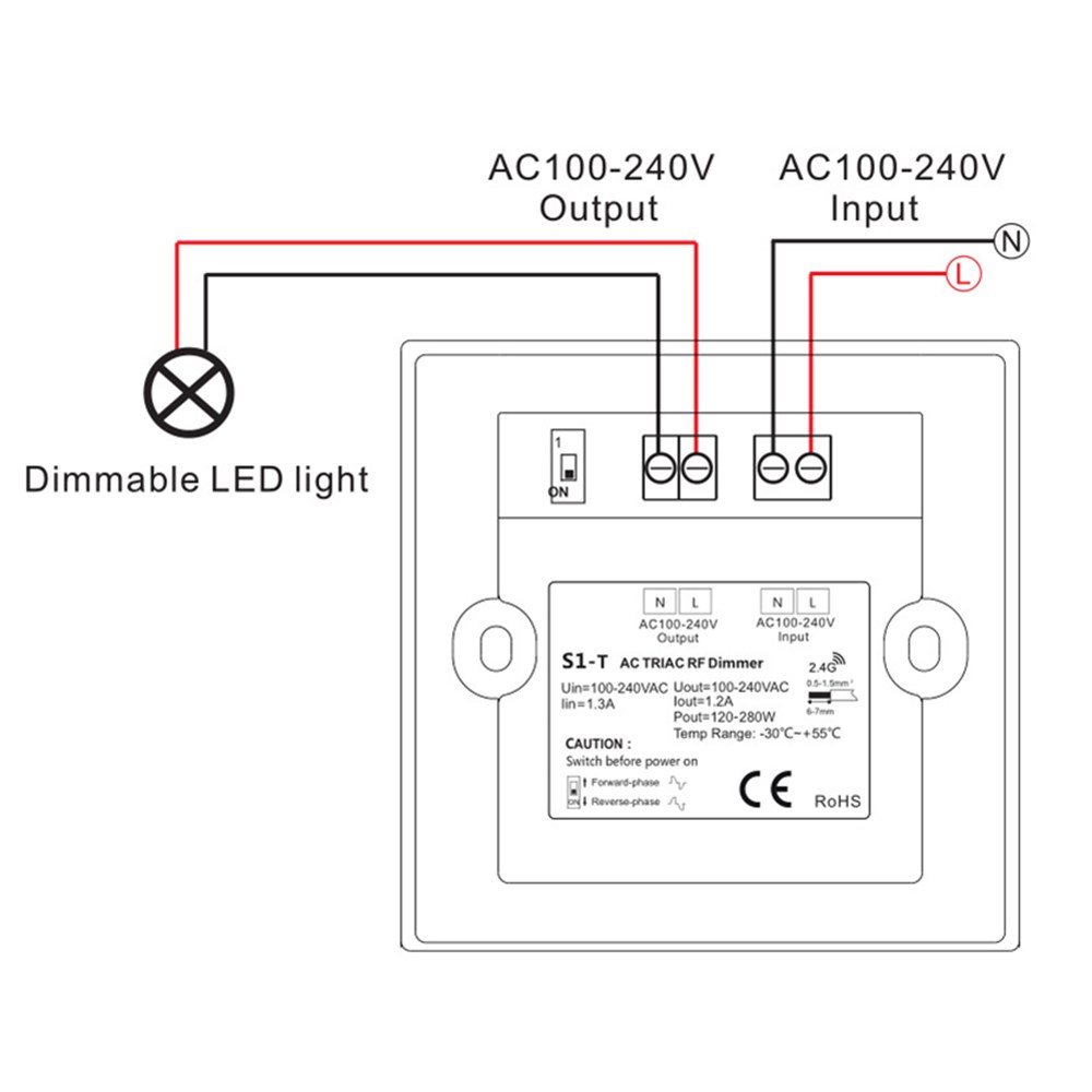 AC100-240V 1CH Touch Control Panel Wall Mount LED Triac Dimmer Light Switch