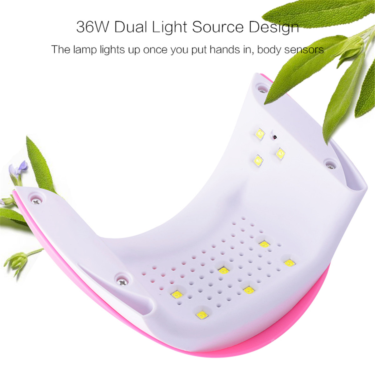 36W Pink LED Lamp Nail Art Dryer Time Setting Manicure Tools