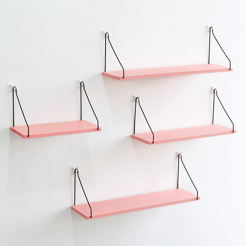 Pink Bookshelf Iron Wooden Wall Shelf Holder Rack Organizer Craft Storage Home Decoration