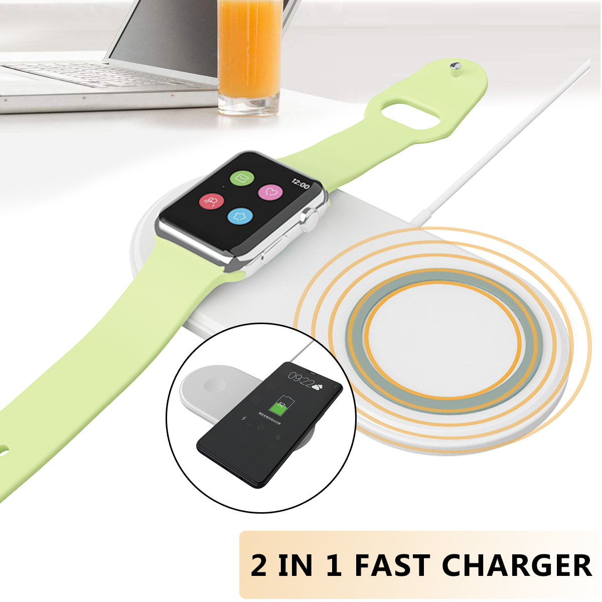Bakeey WL-088 2 in 1 Fast Qi Wireless Charger with Cooling Fan for iPhone X 8 Plus iWatch S8 S9