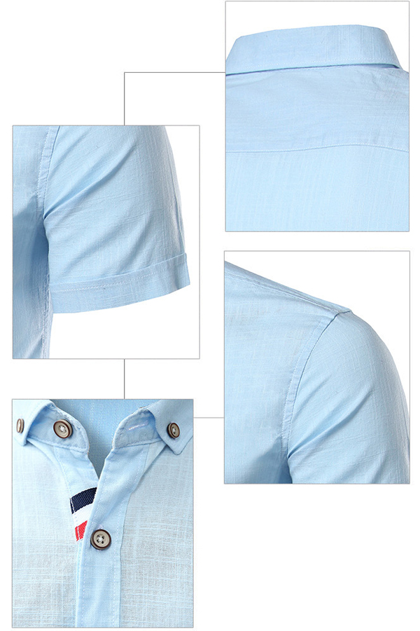 Mens Slim Fit Imitation Linen Solid Color Turn-down Collar Shorts Sleeve Summer Casual Shirts