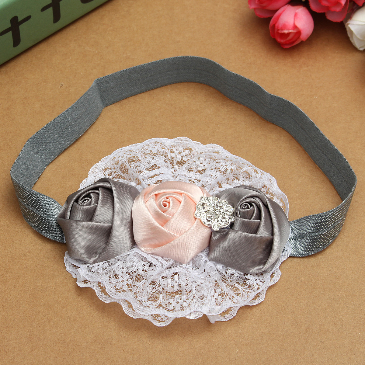 Cute Toddler Girls Baby Kids Rose Flower Hair Band Headbrand Headwear Accessories