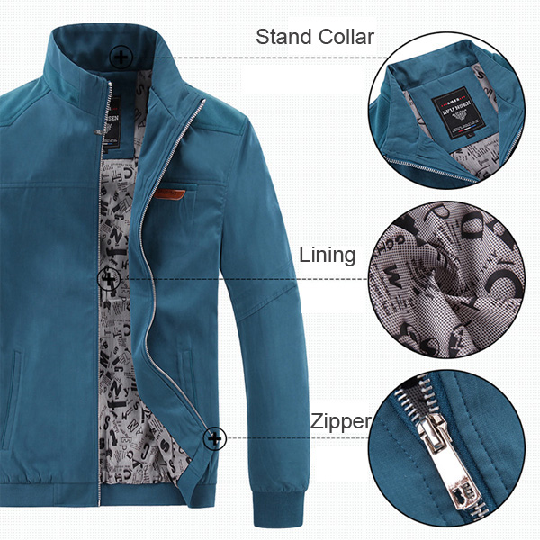 Mens Outdoor Slim Fit Stand Color Jacket Spring Autumn Business Solid Color Coat