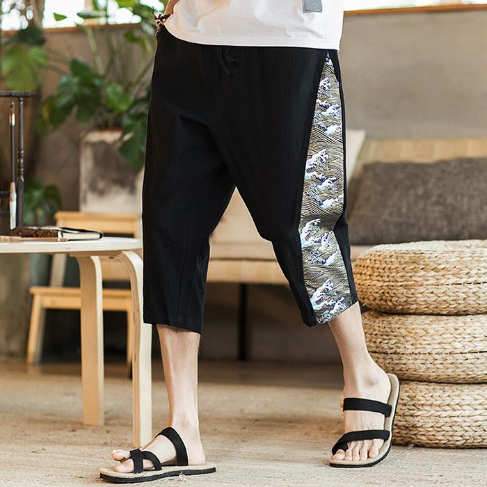 Chinese Style Cotton Linen Loose Wide Leg Pants