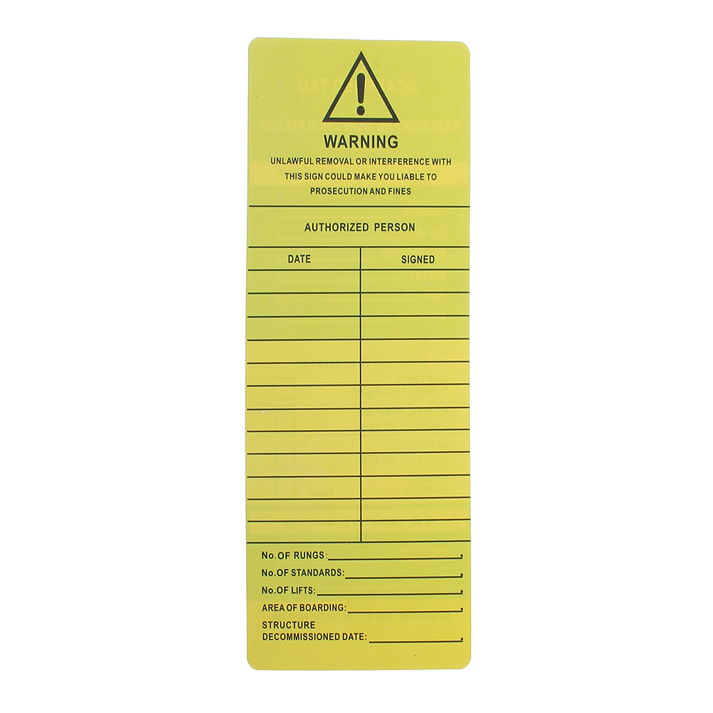 Scaffold Status Holder Tags Safety Protector Inserts Marker Security Warning Sign Board