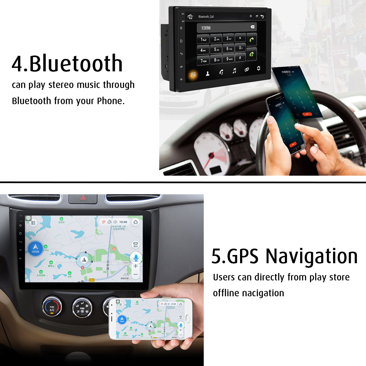 7 Inch Android 8.0 Double Din Stereo Radio GPS Sat Nav bluetooth FM USB WIFI Car MP5 Player