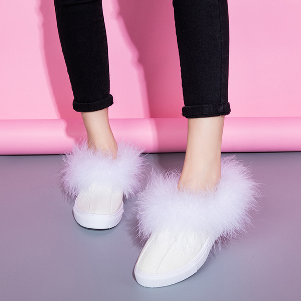 Lovely Furry Round Toe Slip On Warm Flat Boots