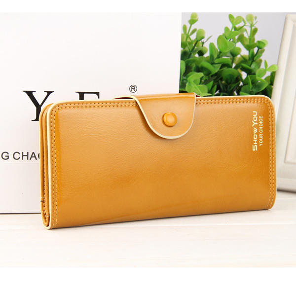 Elegant PU Leather Candy Color Wallet Card Holder Purse