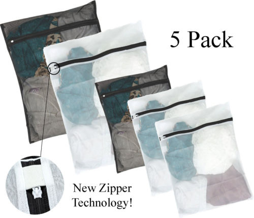 5Pcs 3 Sizes Zippered Mesh Laundry Wash Bag Lingerie Socks Underwear Clothes Storage