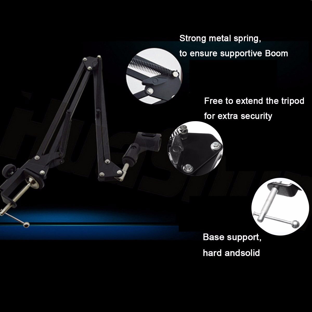 Adjustable Microphone Mic Suspension Boom Scissor Arm Stand Holder with Shock Mount