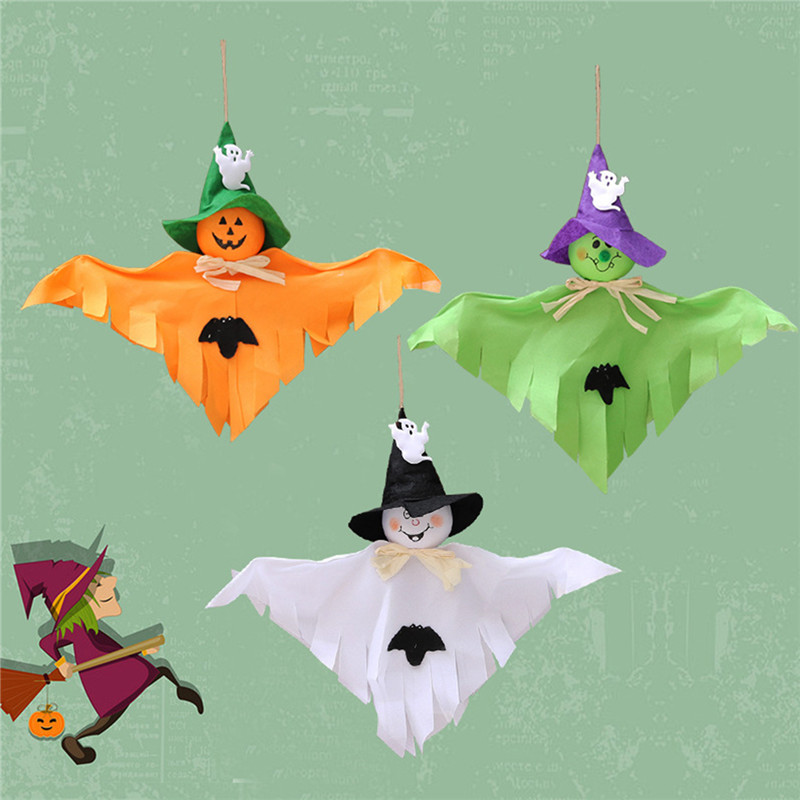 3PCS Halloween Party Home Decoration Pumpkin Ghost Pendant Ornament Horror Scene Toys For Kids Gift