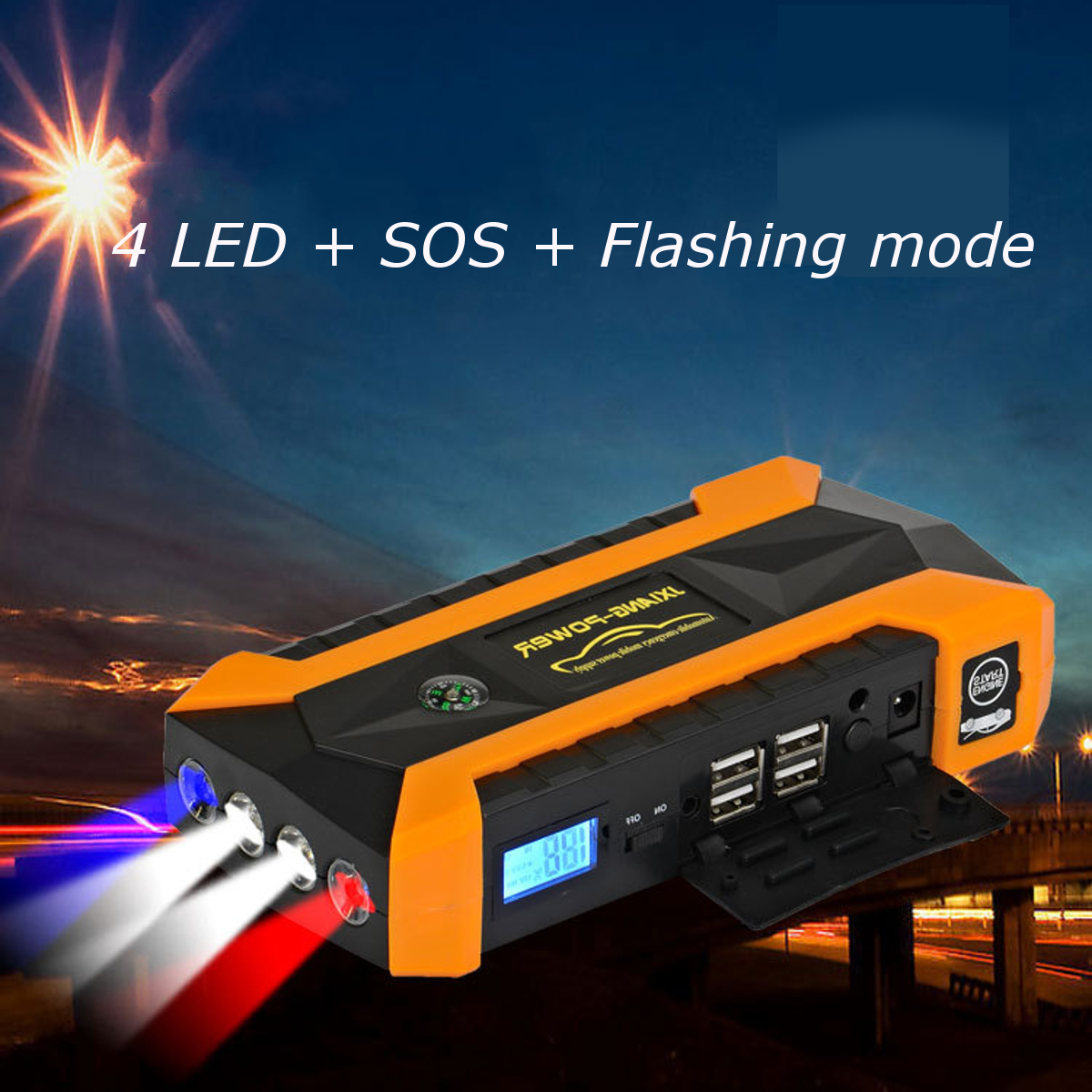 12000mAh LED Car Jump Start Starter 4 USB Charger Battery Power Bank Booster 12V