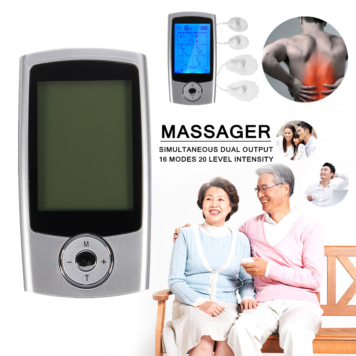 16 Modes Portable Electric Pulse TENS EMS Massager Therapy