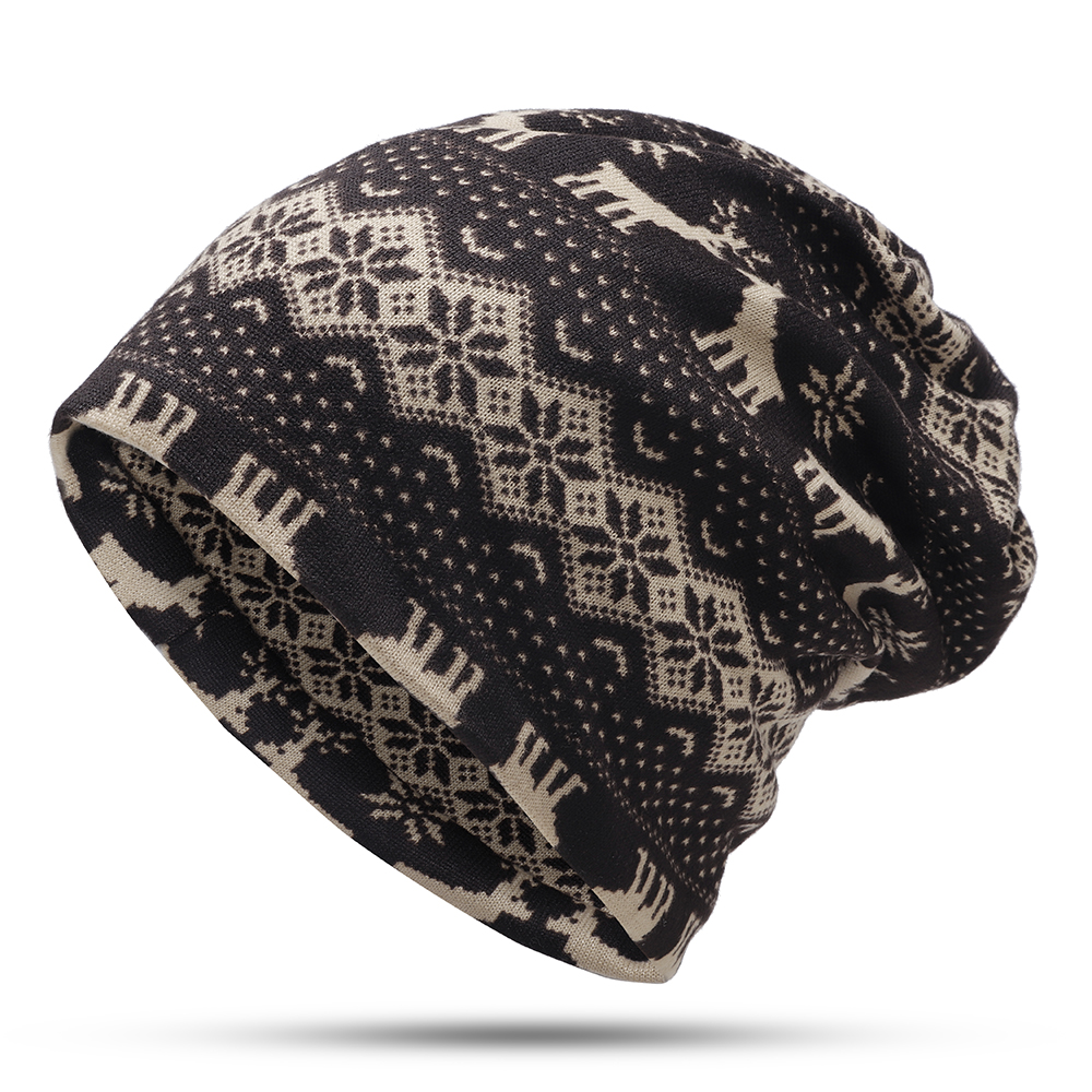 Unisex Elk Flower Print Multipurpose Skullcap Neck Warmer