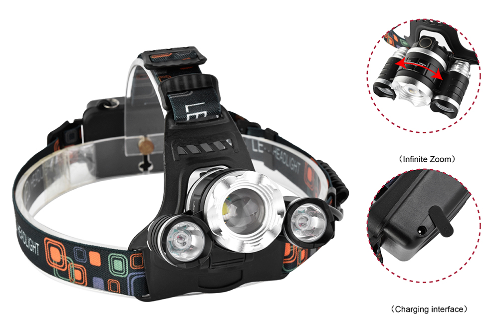 XANES 749 1200 Lumens T6+2 XPE Led Bicycle Headlight Infinite Zoom Outdoor Sports HeadLamp 4 Modes