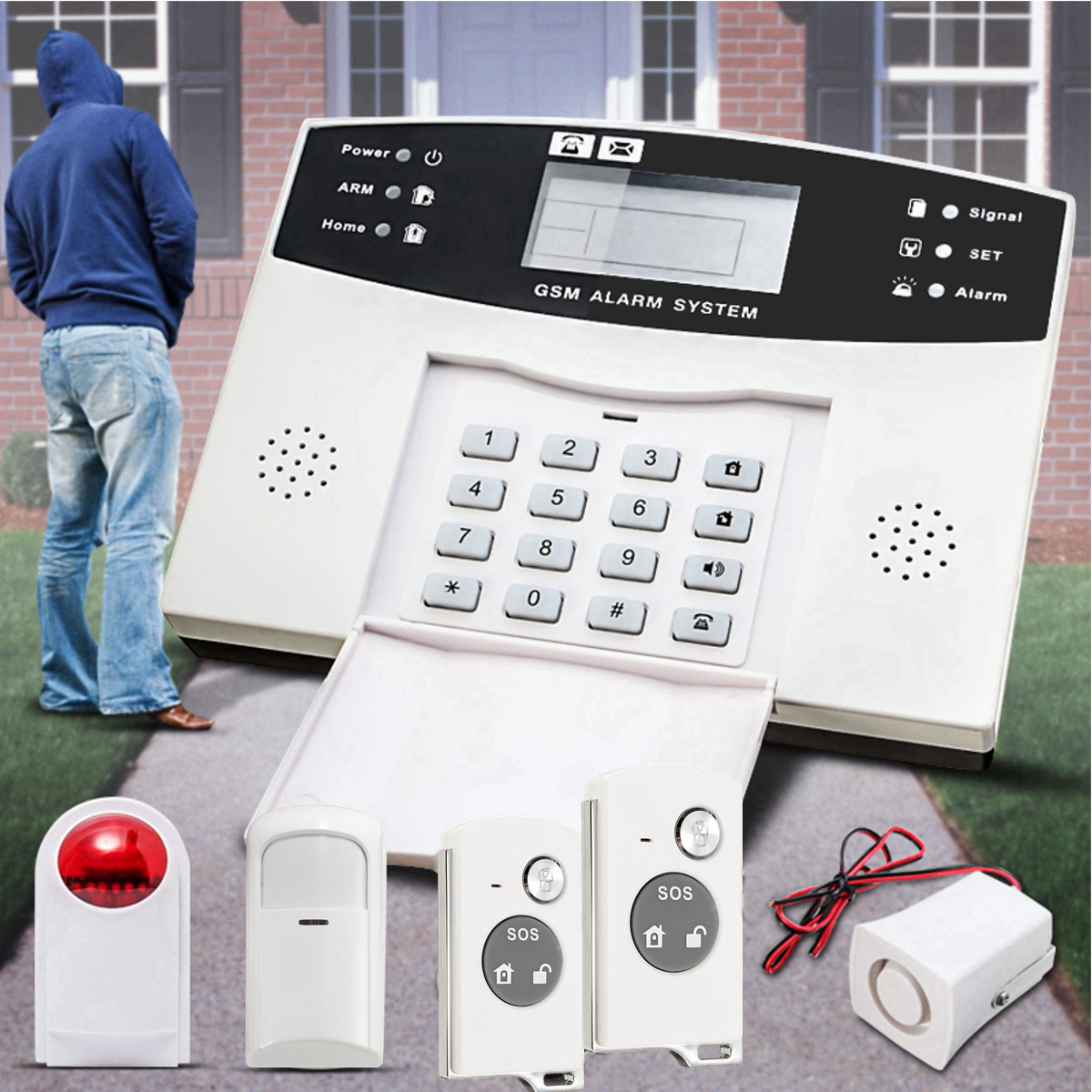 LCD Wireless GSM Auto Dial Home House Office Security Burglar Intruder Alarm System