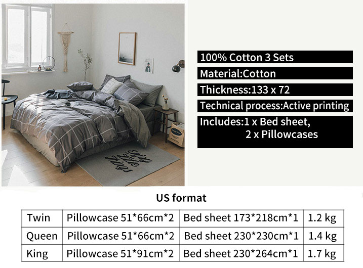 IKEA Style 100% Cotton Bed Sheets Softest 3 Styles Bedding Sets Collection Deep