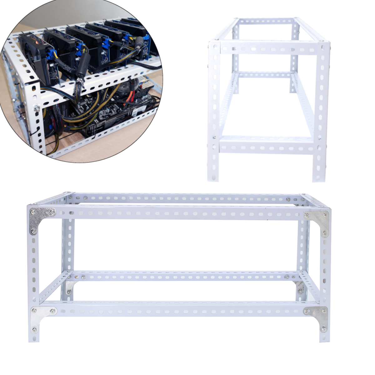 Steel Crypto Coin Open Air Mining Frame Rig Case up to 6 GPU ETH BTC Ethereum