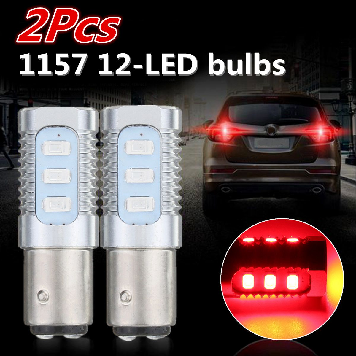 2PCS 1157 LED Flashing Strobe Light Bulb Red Rear Alert Safety Brake Tail Stop Lights Bulb