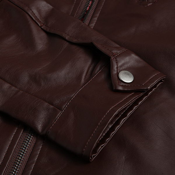 Mens Plus Size PU Leather Jacket Stand Collar Zipper Solid Color Cool Motorcycle Coat
