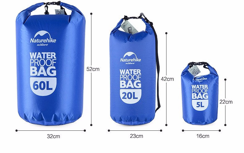 Naturehike 5L 20L 60L Waterproof Bags Storage Dry Sack Bag For Canoe Kayak Rafting Outdoor Sport Bag