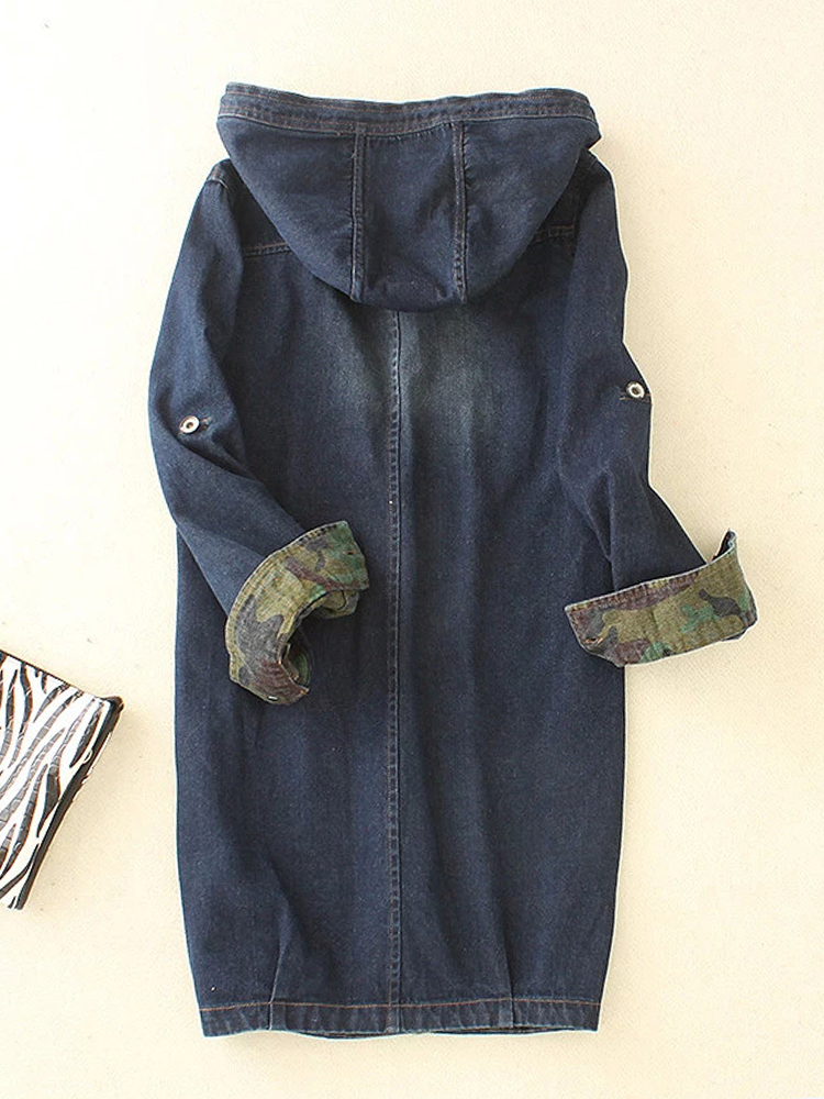 Casual Women Camouflage Denim Coat