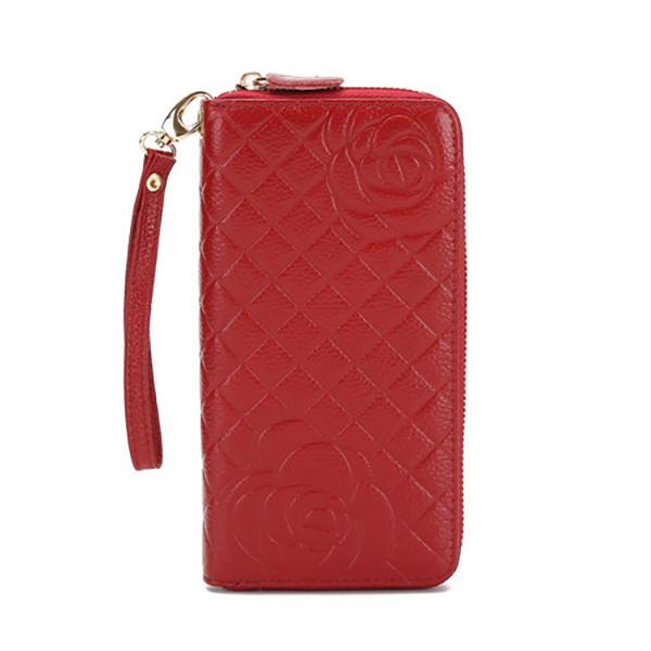 Women Genuine Leather Rose Pattern Wallet Phone Bag