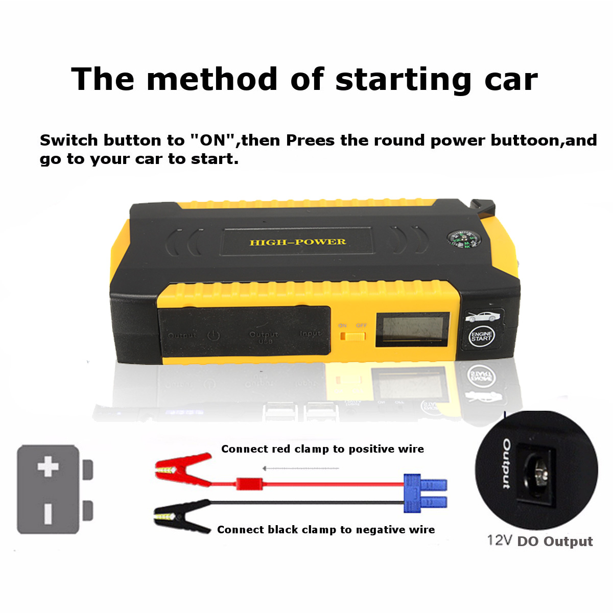 18000mAh 4 USB Car Jump Starter Power Bank Portable Starter Pack Booster Battery Emergency Charger