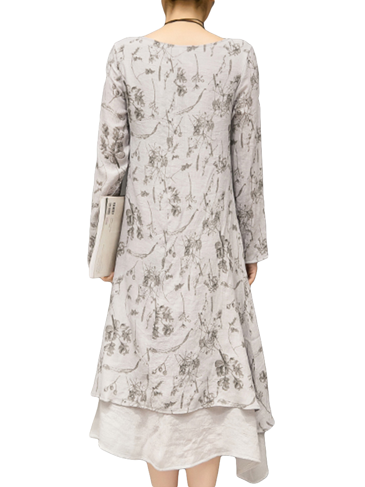 Vintage Women Long Sleeve Printed Double Layer Loose Dresses