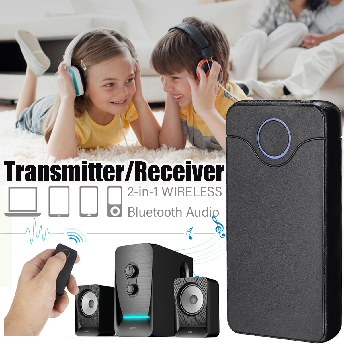 2 IN 1 Wireless bluetooth Receiver Transmitter 3.5MM Port Stereo Audio Adapter for Mobile Phone