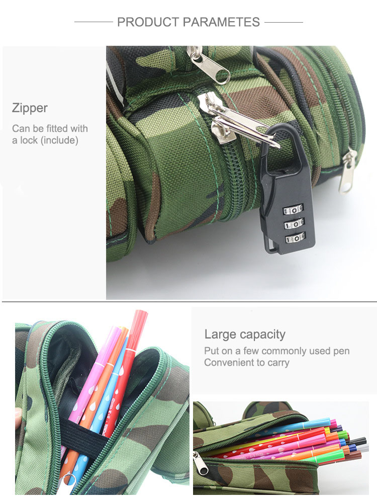 WAM Portable 3D Pencil Case Cool Camouflage Car Jeep Style Pouch Bag Pen Holder School Supply Stationery Boys with Lock Double Zipper
