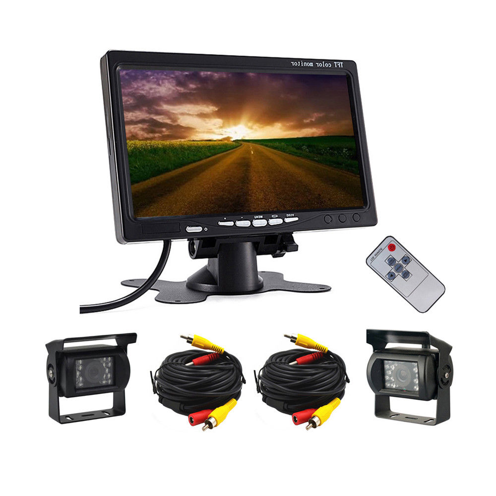 12-24V 2 Car DVR Wired Rear View Backup Camera System and 7 Inch Monitor For Truck RV Bus