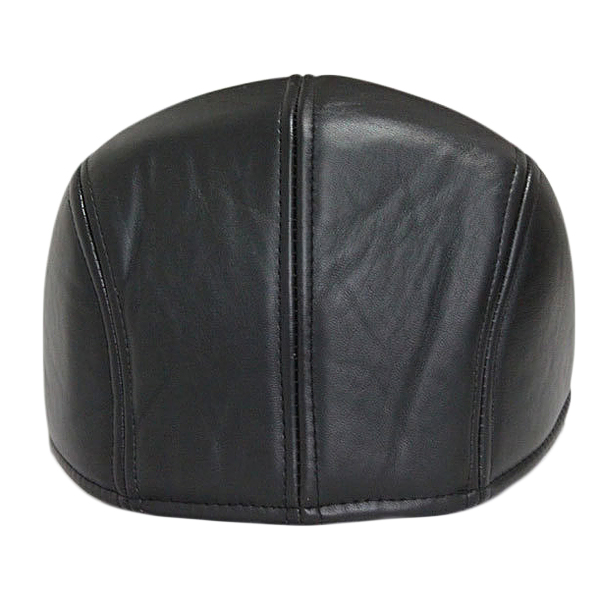 Unisex Men Women Artificial Leather Newsboy Beret Hat Duckbill Cowboy Golf Flat Cabbie Cap