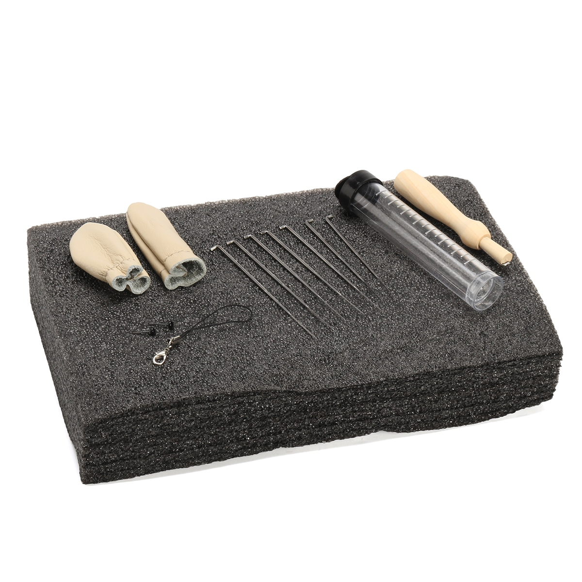Needle Felting Foam Starter Kit Wool Felt Tools Mat + Needles + Craft Accessories Set