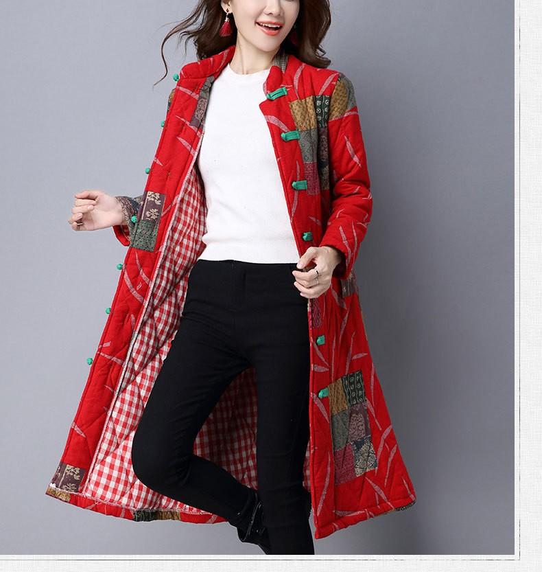 Ethnic Floral Print Long Sleeve Mandarin Collar Button Women Coat