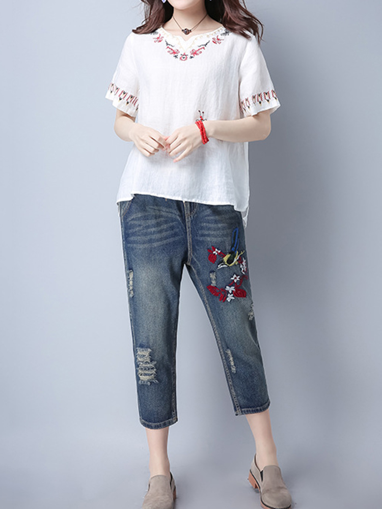 Casual Women Short Sleeve Embroidered Summer T-shirts