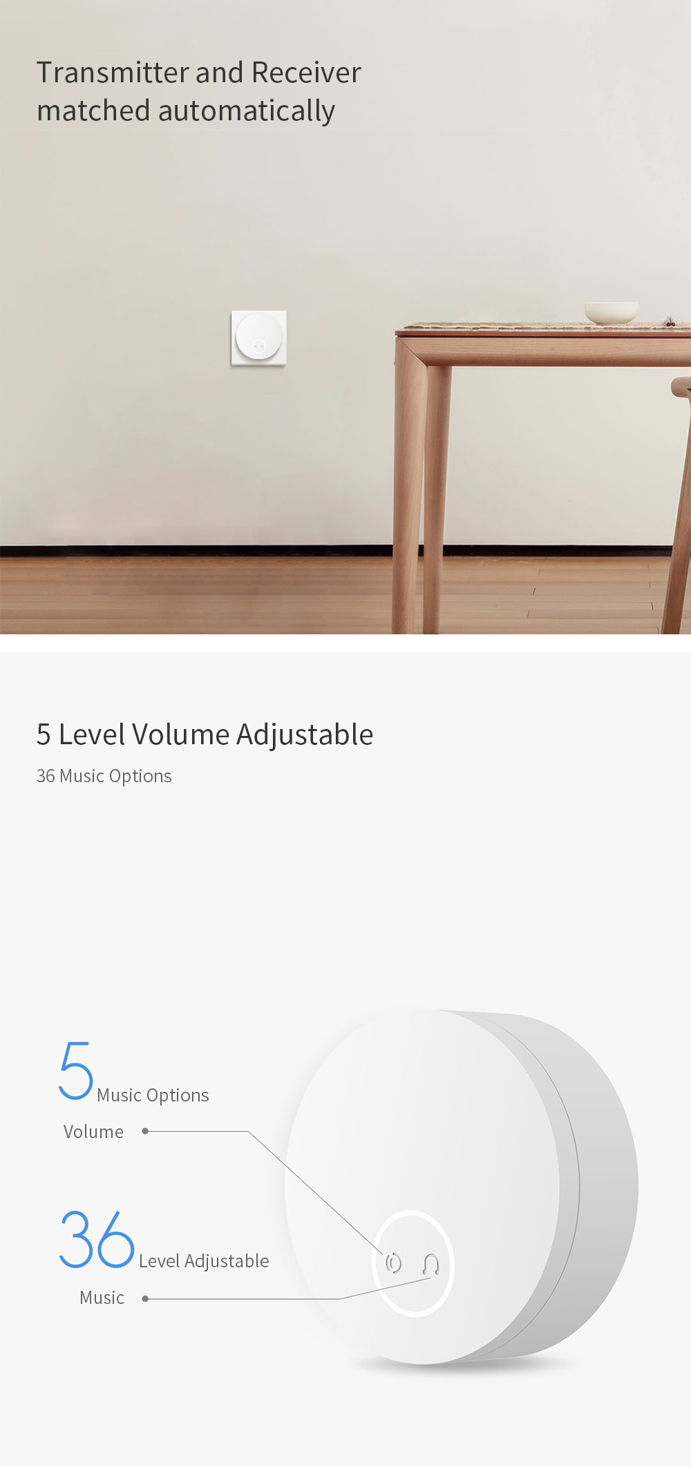 Linptech WIFI Self-power-generat0ing Wireless Doorbell Work with Mijia APP Smart Control Memory Function AC 110-240V from xiaomi youpin