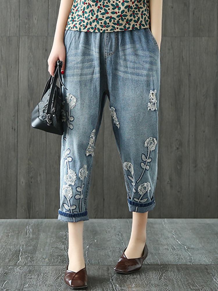 Women Vintage Embroidery Elastic Waist Pocket Denim Jeans