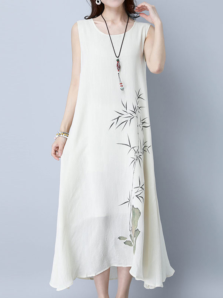 Women Sleeveless Bamboo Printed Loose Hem Maxi Dress