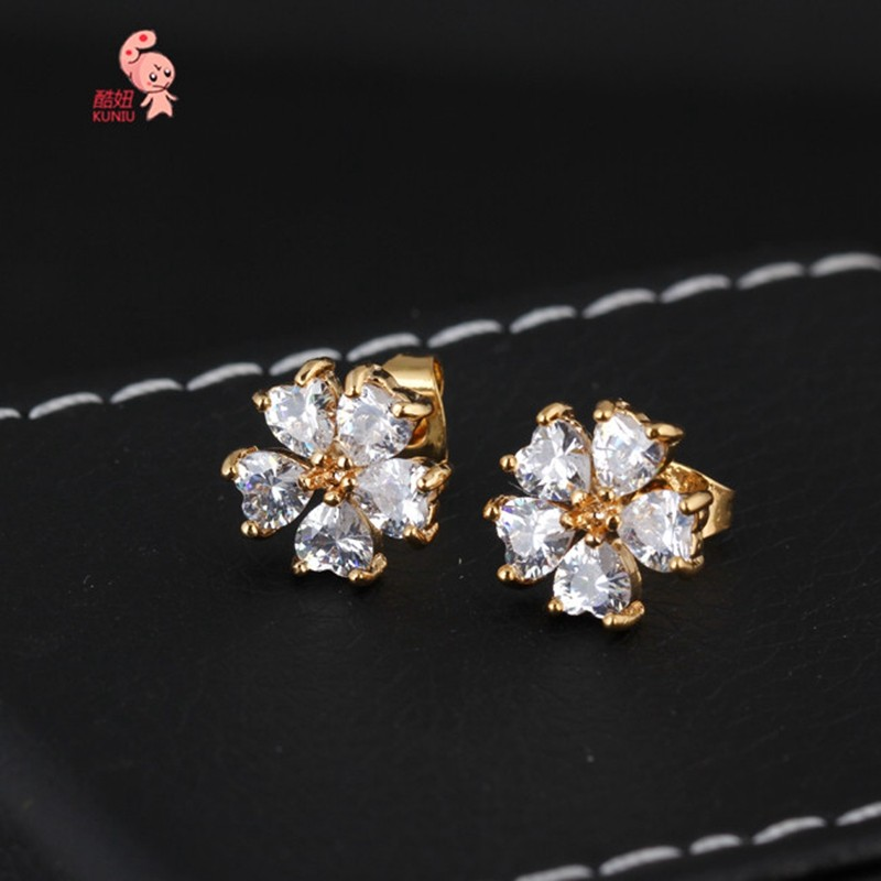 Kuniu Korean Flower Shaped White Zircon Ear Stud Earrings