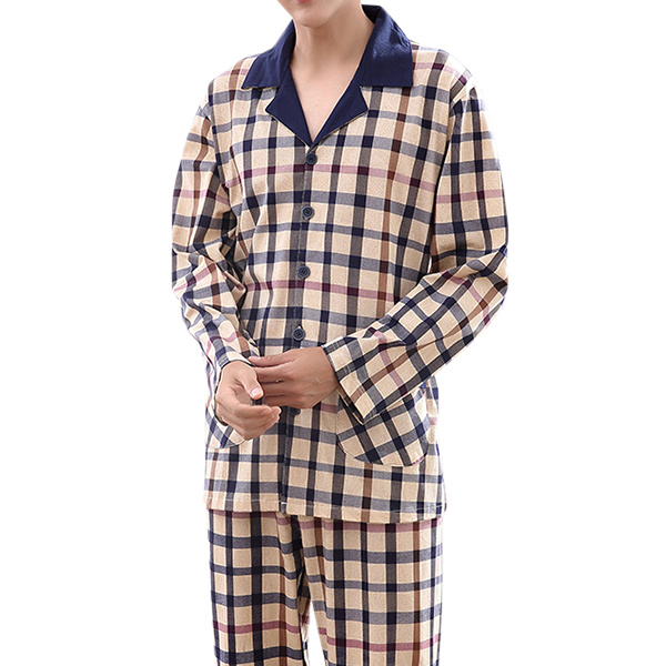 Mens Casual Home Cotton Comfortable Long Sleeve Pajamas Set