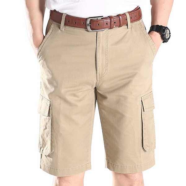 Summer Mens Casual Quick Drying Multi Pockets Cargo Pants Cotton Knee-length Trousers