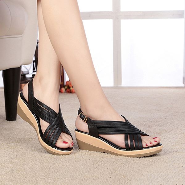 0f1572e4ccd0 genuine leather casual comfy wedge sandals at Banggood