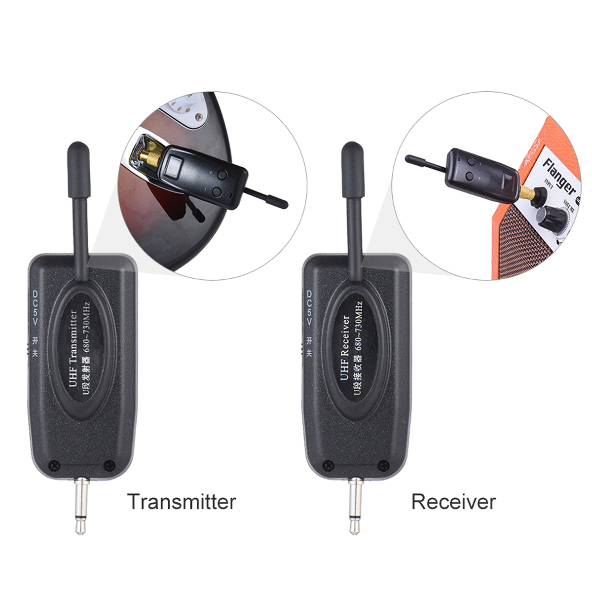 UHF Wireless Audio Transmitter Receiver System For Electric Guitar Bass US Plug