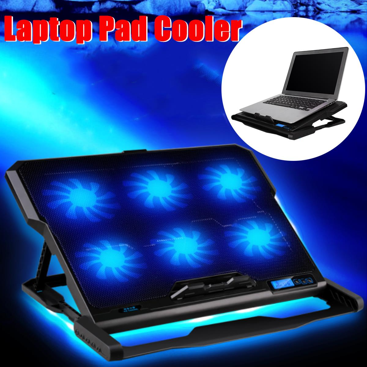 Adjustable Laptop Cooling Pad USB Cooler 6 Cooling Fans With Stand For 12-15.6 inch Laptop Use